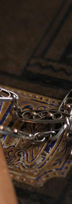 銀無垢アンティーク懐中時計チェーン 銀とローズ色の玉装飾-C0486-1