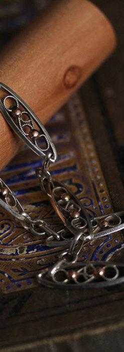 銀無垢アンティーク懐中時計チェーン 銀とローズ色の玉装飾-C0486-2