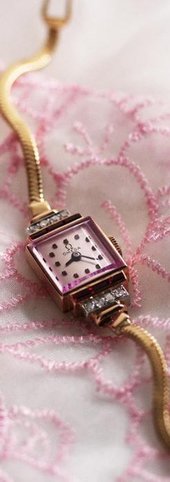 オメガ 18金アンティーク腕時計 14石のルビー&ダイヤモンド 【1939年製】-W1518-1