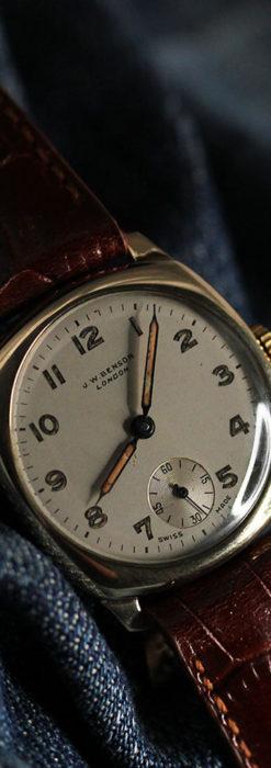 ベンソン クッション型 9金無垢アンティーク腕時計 【1954年頃】-W1519-1