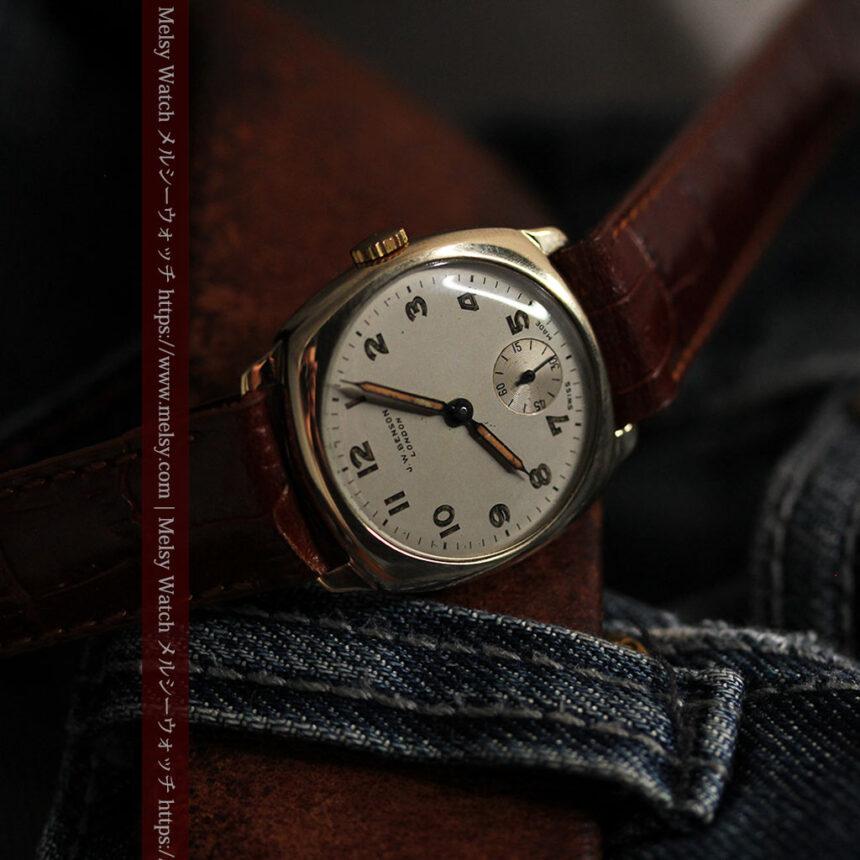 ベンソン クッション型 9金無垢アンティーク腕時計 【1954年頃】-W1519-15