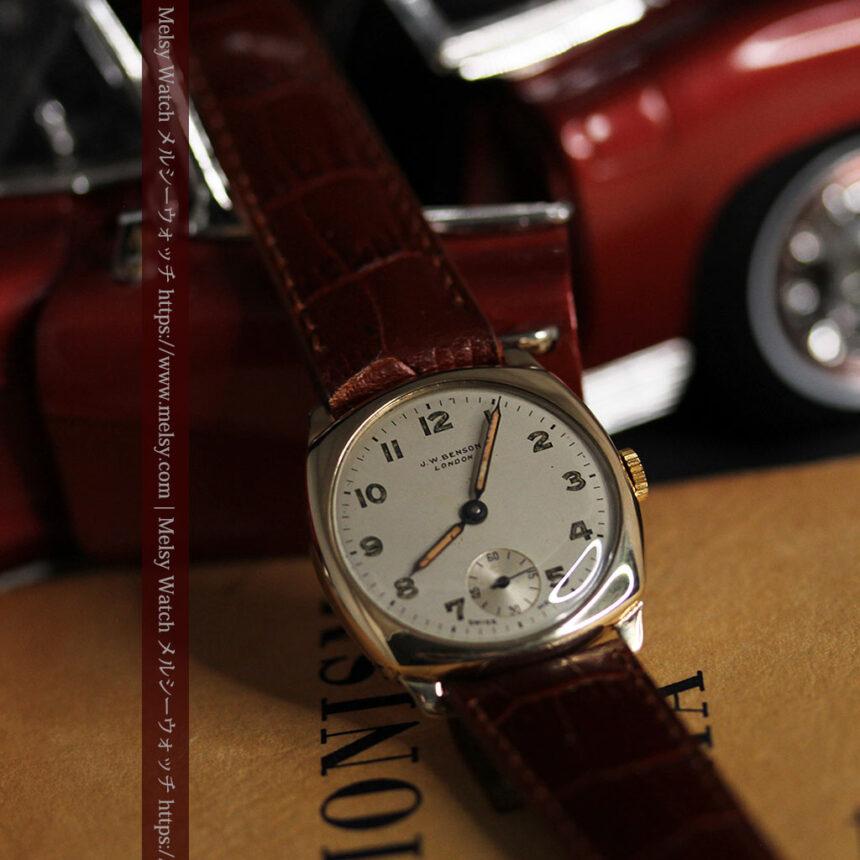 ベンソン クッション型 9金無垢アンティーク腕時計 【1954年頃】-W1519-6