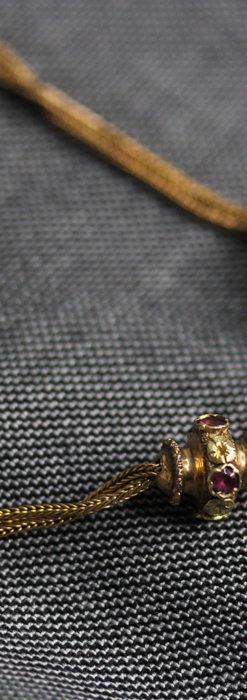 紫の淡い宝石が美しい 品のある18金無垢アンティーク懐中時計チェーン-C0478-2