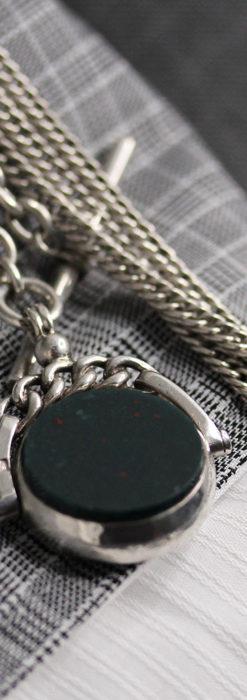 回転する石飾りのついたアンティーク銀無垢懐中時計チェーン-C0488-2