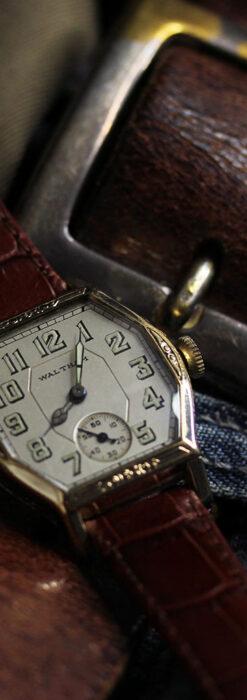 ウォルサムの六角形の趣きあるアンティーク腕時計 【1920年頃】-W1520-1