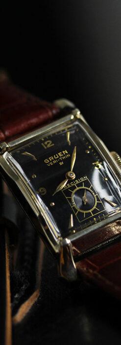 グリュエン 黒文字盤の渋さの光るアンティーク腕時計 【1945年頃】-W1521-1