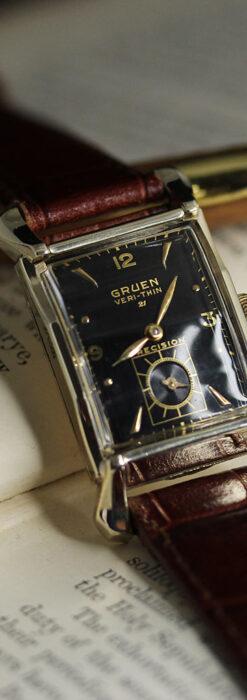 グリュエン 黒文字盤の渋さの光るアンティーク腕時計 【1945年頃】-W1521-11
