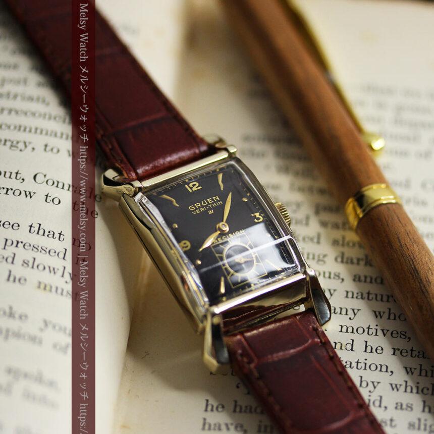 グリュエン 黒文字盤の渋さの光るアンティーク腕時計 【1945年頃】-W1521-12