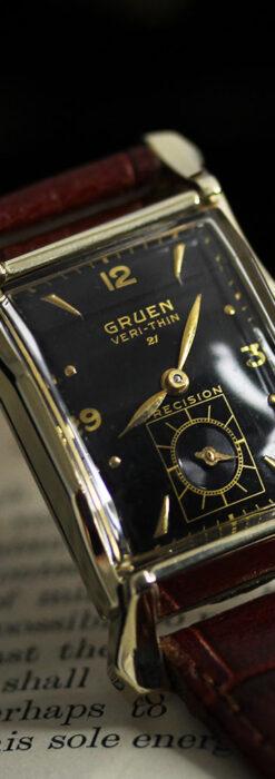 グリュエン 黒文字盤の渋さの光るアンティーク腕時計 【1945年頃】-W1521-13