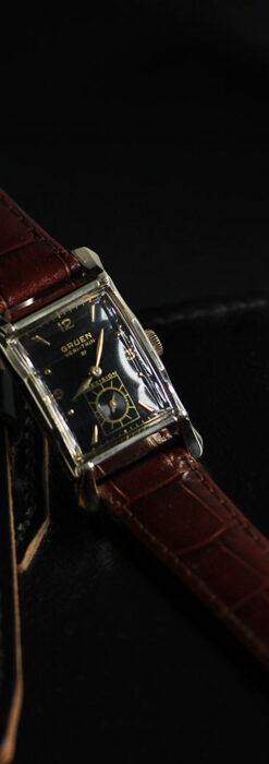 グリュエン 黒文字盤の渋さの光るアンティーク腕時計 【1945年頃】-W1521-2