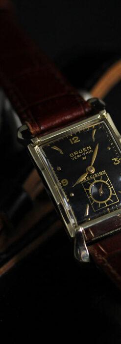 グリュエン 黒文字盤の渋さの光るアンティーク腕時計 【1945年頃】-W1521-3