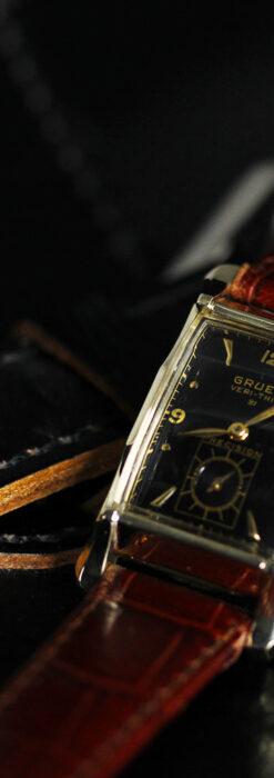 グリュエン 黒文字盤の渋さの光るアンティーク腕時計 【1945年頃】-W1521-4