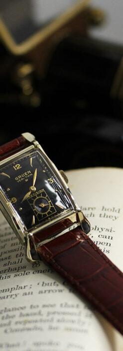 グリュエン 黒文字盤の渋さの光るアンティーク腕時計 【1945年頃】-W1521-5