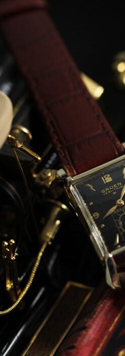 グリュエン 黒文字盤の渋さの光るアンティーク腕時計 【1945年頃】-W1521-6