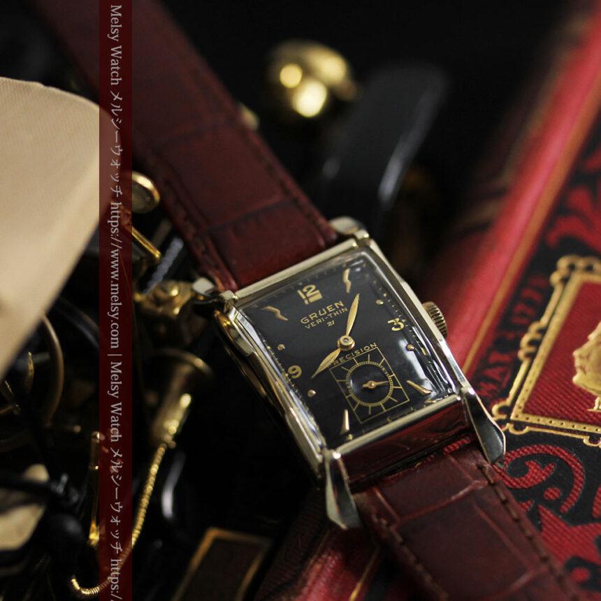 グリュエン 黒文字盤の渋さの光るアンティーク腕時計 【1945年頃】-W1521-7