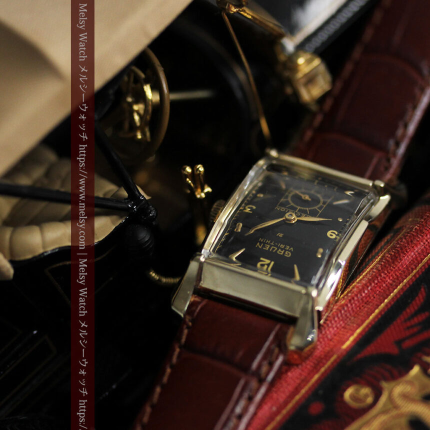 グリュエン 黒文字盤の渋さの光るアンティーク腕時計 【1945年頃】-W1521-8