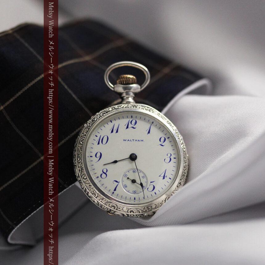 ウォルサム 青い文字と装飾の綺麗な銀無垢アンティーク懐中時計 【1900年頃】-P2299-10