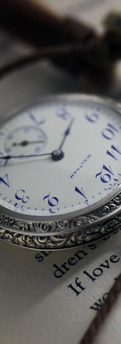 ウォルサム 青い文字と装飾の綺麗な銀無垢アンティーク懐中時計 【1900年頃】-P2299-2