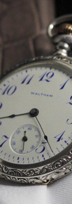 ウォルサム 青い文字と装飾の綺麗な銀無垢アンティーク懐中時計 【1900年頃】-P2299-3