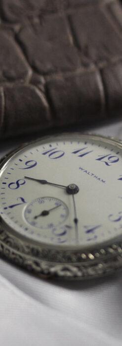 ウォルサム 青い文字と装飾の綺麗な銀無垢アンティーク懐中時計 【1900年頃】-P2299-4