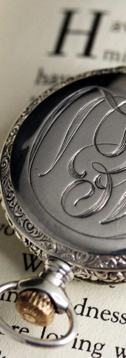 ウォルサム 青い文字と装飾の綺麗な銀無垢アンティーク懐中時計 【1900年頃】-P2299-5