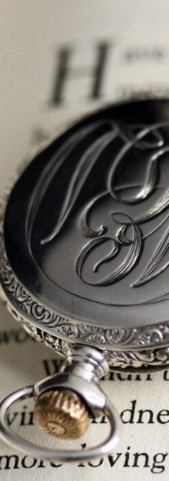 ウォルサム 青い文字と装飾の綺麗な銀無垢アンティーク懐中時計 【1900年頃】-P2299-6