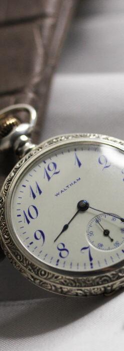 ウォルサム 青い文字と装飾の綺麗な銀無垢アンティーク懐中時計 【1900年頃】-P2299-7