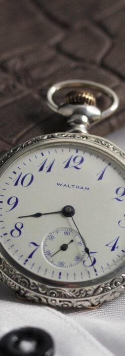 ウォルサム 青い文字と装飾の綺麗な銀無垢アンティーク懐中時計 【1900年頃】-P2299-8