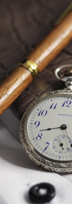 ウォルサム 青い文字と装飾の綺麗な銀無垢アンティーク懐中時計 【1900年頃】-P2299-9