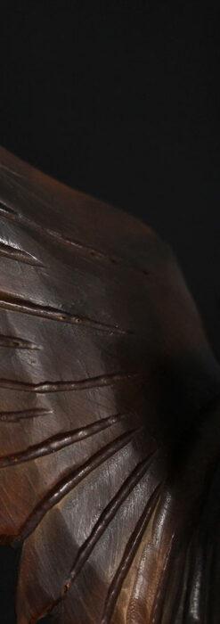 木に留まる鷲 風格ある木彫り懐中時計スタンド-S0845-10