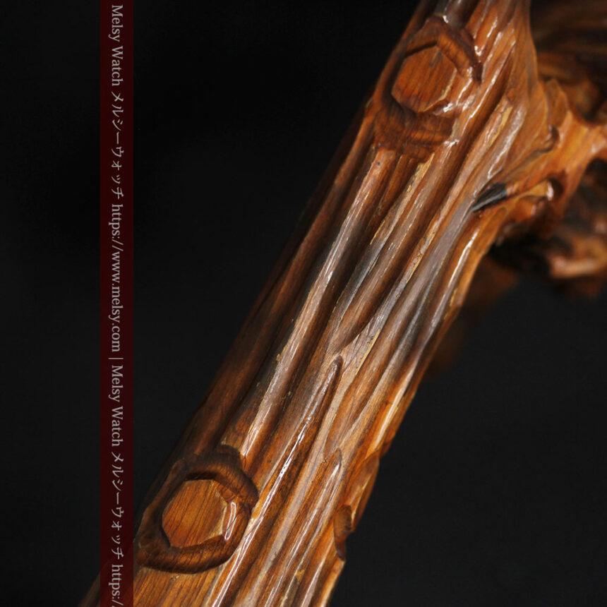 木に留まる鷲 風格ある木彫り懐中時計スタンド-S0845-14