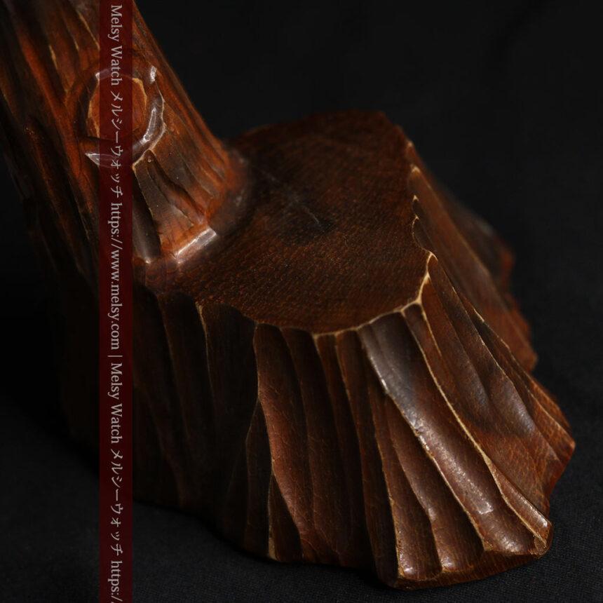 木に留まる鷲 風格ある木彫り懐中時計スタンド-S0845-15