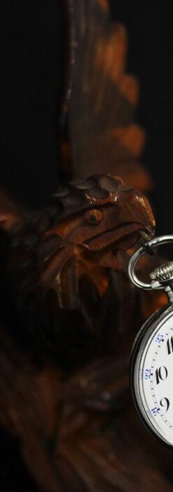 木に留まる鷲 風格ある木彫り懐中時計スタンド-S0845-4