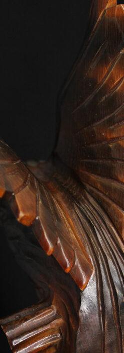 木に留まる鷲 風格ある木彫り懐中時計スタンド-S0845-8