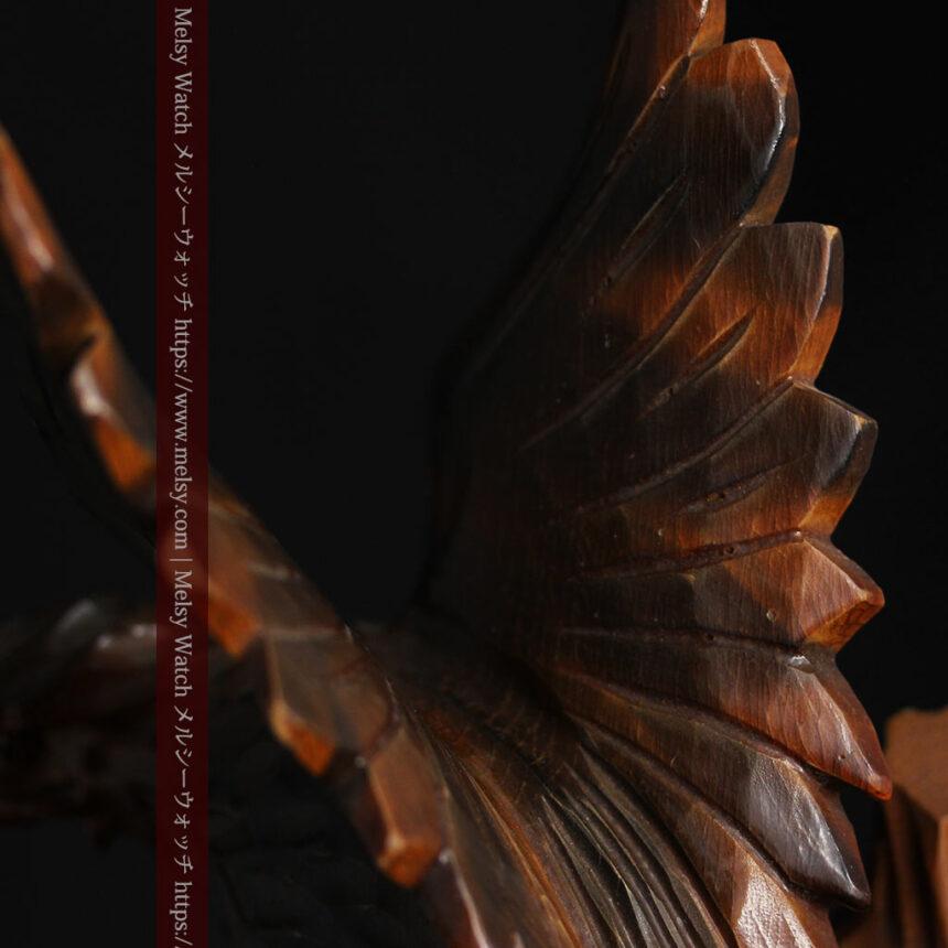 木に留まる鷲 風格ある木彫り懐中時計スタンド-S0845-9