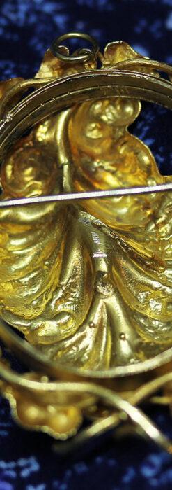 存在感ある秀麗なアンティーク 大粒ルビーと18金の大きな花形ブローチ-A0306-13