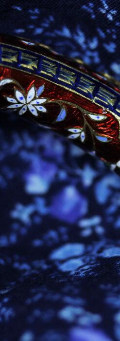 芸術的なエナメル装飾に宝石を鏤めた22金のアンティークバングル・ブレスレット-A0307-13