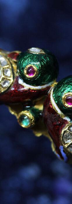 芸術的なエナメル装飾に宝石を鏤めた22金のアンティークバングル・ブレスレット-A0307-15