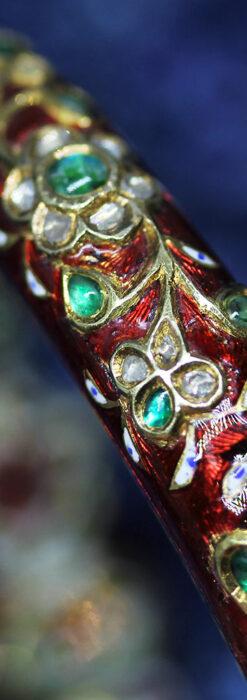 芸術的なエナメル装飾に宝石を鏤めた22金のアンティークバングル・ブレスレット-A0307-19