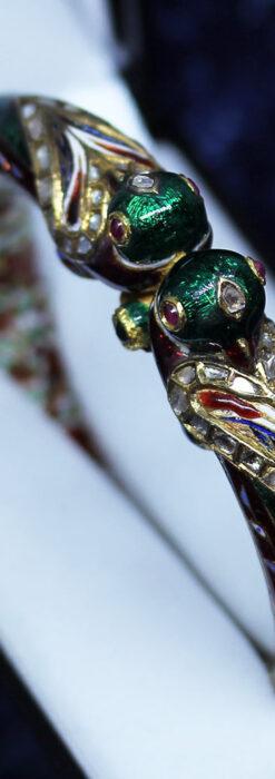 芸術的なエナメル装飾に宝石を鏤めた22金のアンティークバングル・ブレスレット-A0307-2