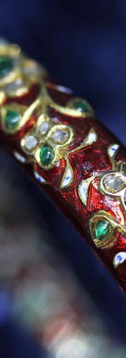 芸術的なエナメル装飾に宝石を鏤めた22金のアンティークバングル・ブレスレット-A0307-21
