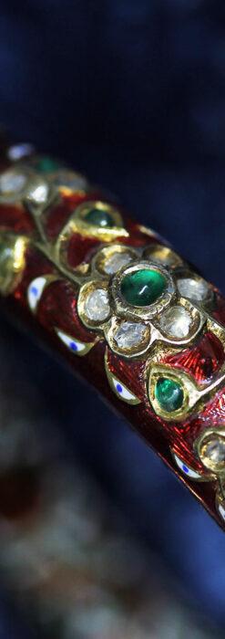 芸術的なエナメル装飾に宝石を鏤めた22金のアンティークバングル・ブレスレット-A0307-22