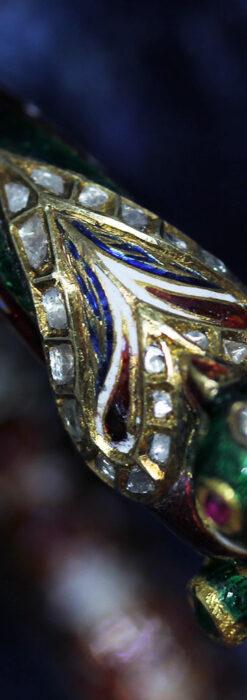 芸術的なエナメル装飾に宝石を鏤めた22金のアンティークバングル・ブレスレット-A0307-25