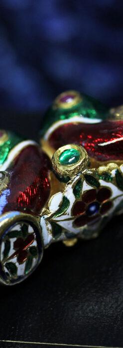 芸術的なエナメル装飾に宝石を鏤めた22金のアンティークバングル・ブレスレット-A0307-27