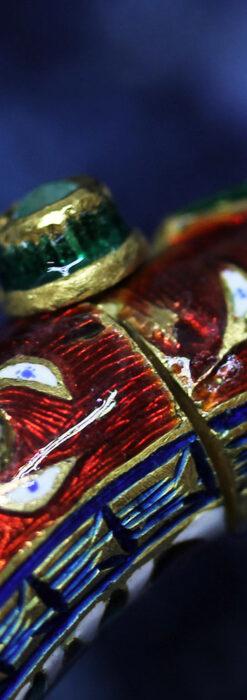 芸術的なエナメル装飾に宝石を鏤めた22金のアンティークバングル・ブレスレット-A0307-29
