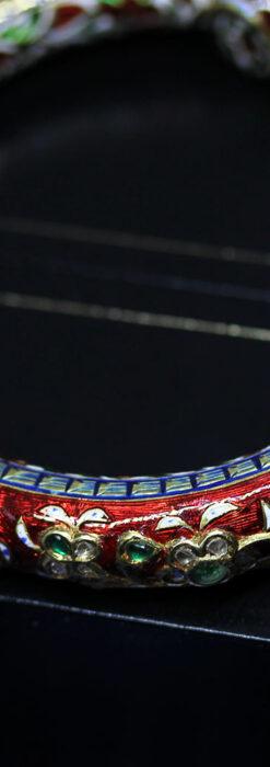 芸術的なエナメル装飾に宝石を鏤めた22金のアンティークバングル・ブレスレット-A0307-8