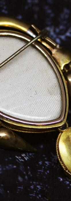 アンティークの品格と風格漂う18金ブローチとイヤリングのセット 【箱付き】-A0308-11