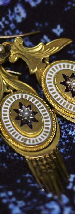 アンティークの品格と風格漂う18金ブローチとイヤリングのセット 【箱付き】-A0308-12