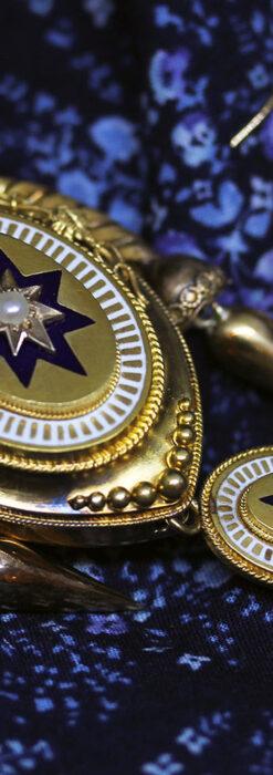 アンティークの品格と風格漂う18金ブローチとイヤリングのセット 【箱付き】-A0308-3