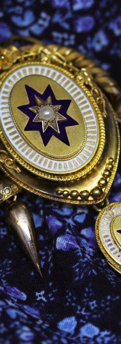 アンティークの品格と風格漂う18金ブローチとイヤリングのセット 【箱付き】-A0308-7